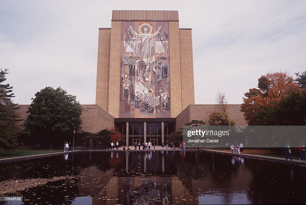 A Mural Called Touchdown Jesus Adorns A Wall Overlooking The Notre Dame  Campus And Football Stadium Part 79