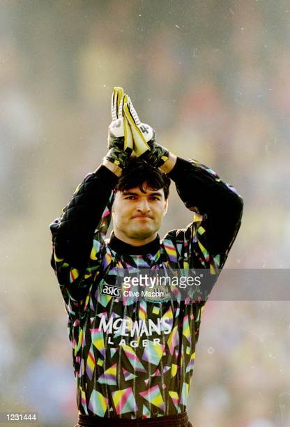 Newcastle United goalkeeper Pavel Srnicek applauds during an FA Carling Premiership match against Crystal Palace at Selhurst Park in London Mandatory...