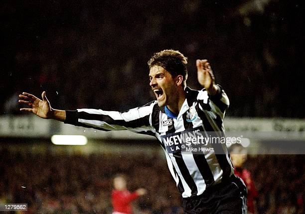 Philippe Albert of Newcastle United celebrates during the Coca Cola Cup third round match against Manchester United at St James'' Park in Newcastle...