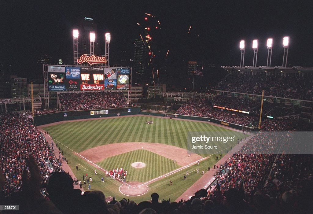 A view from above Jacobs Field during the Cleveland Indians 76 game 3 World Series win over the Atlanta Braves in Cleveland Ohio Mandatory Credit...