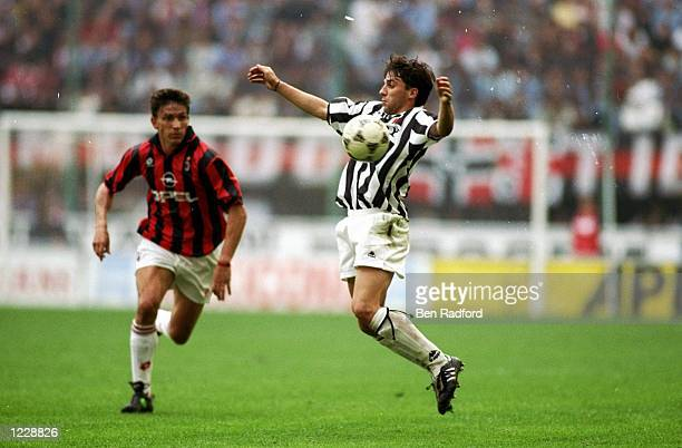 Alessandro del Piero of Juventus receives the ball during a Series A match against AC Milan at the San Siro Stadium in Milan Italy AC Milan won the...