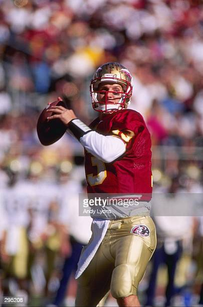 Quarterback Danny Karell of the Florida State Seminoles looks to pass the ball during a game against the Georgia Tech Yellow Jackets at Doak S...