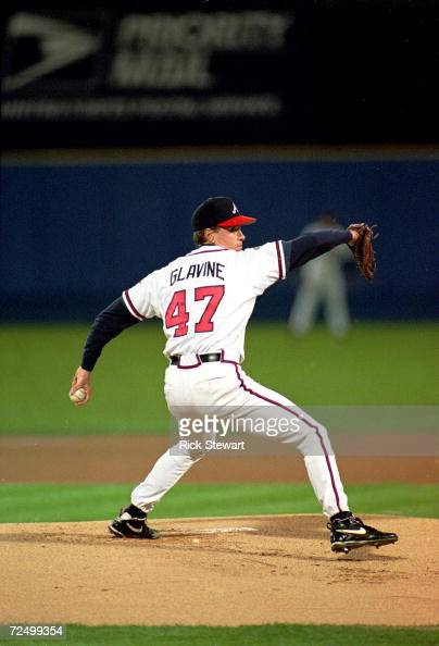 Tom Glavine of the Atlanta Braves pitches the ball during game six of the World Series against the Cleveland Indians at the Fulton County Stadium in...