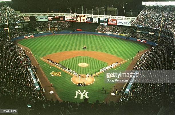 A general view of Yankee Stadium during team introductions prior to the start of Game 1 of the World Series in Bronx New York The Braves won the game...