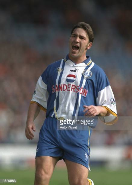 David Hirst of Sheffield Wednesday in action during the FA Carling Premier league match between Sheffield Wednesday and Blackburn Rovers at...