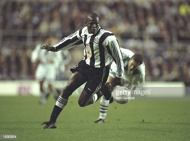 Faustino Asprilla of Newcastle in action during the UEFA cup second leg tie between Newcastle United and Ferenvarcos at StJames'' Park in Newcastle...