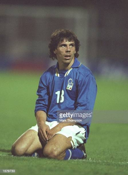 Gianfranco Zola of Italy on his knees during the world cup qualifier between Italy and Georgia in Perugia Italy Italy went onto win the match by 10...