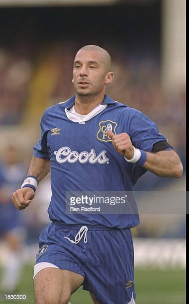 Gianluca Vialli of Chelsea in action during the FA Carling Premier league match between Chelsea and Tottenham Hotspurs at Stamford Bridge in London...