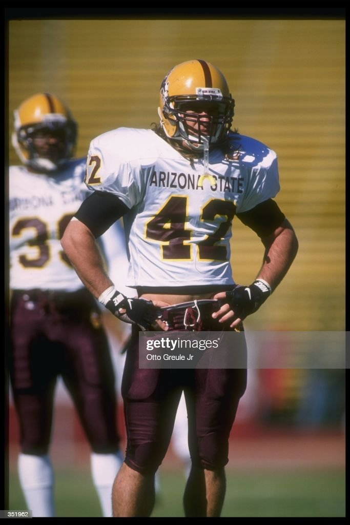 Linebacker Pat Tillman of the Arizona State Sun Devils looks on during a game against the Stanford Cardinal at Stanford Stadium in Stanford...