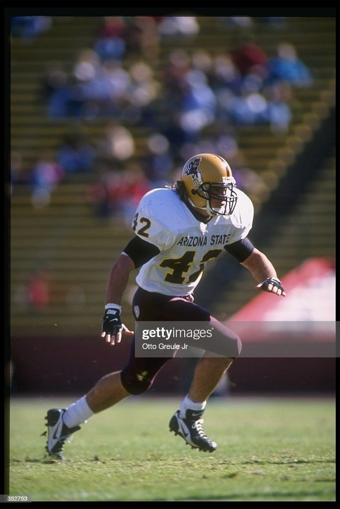 Linebacker Pat Tillman of the Arizona State Sun Devils moves down the field during a game against the Stanford Cardinal at Stanford Stadium in...