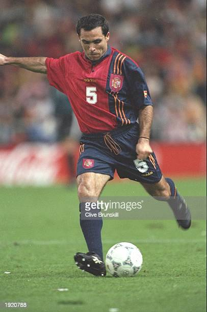 Sergi Barjuan of Spain in action during the World Cup Qualifier match against the Faroe Islands at Gijon in Spain Spain won the match 31 Mandatory...