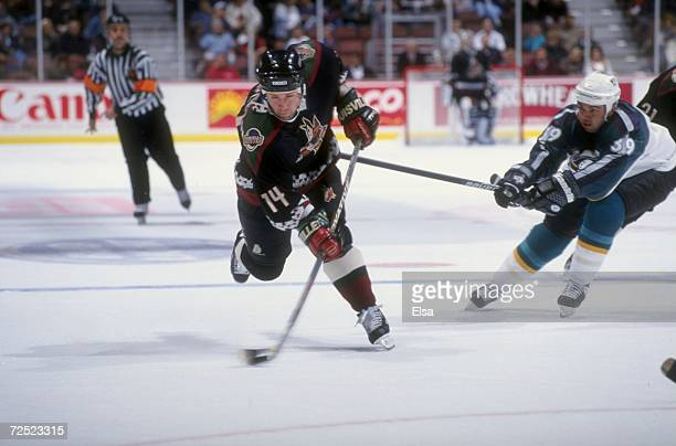 Center Mike Stapleton of the Phoenix Coyotes in action against center Travis Green of the Anaheim Mighty Ducks during a game at the Arrowhead Pond in...
