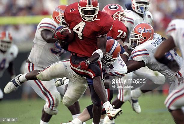 Cornerback Champ Bailey of the Georgia Bulldogs in action during the game against the Florida Gators at the Alltell Stadium in Jacksonville Florida...