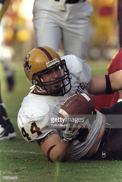 Fullback Jeff Paulk of the Arizona State Sun Devils in action during the game against the USC Trojans at the Los Angeles Memorial Coliseum in Los...