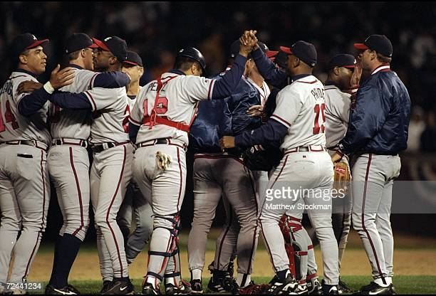 General view as members of the Atlanta Braves celebrate their win following the National League Division Playoff Series Game 3 against the Chicago...