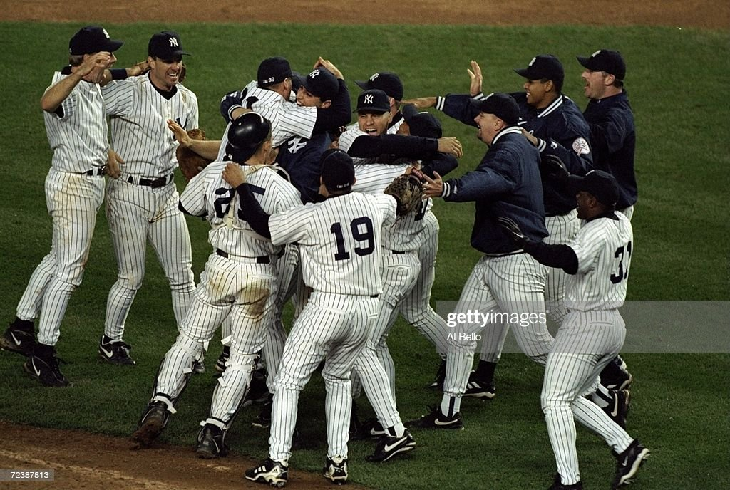 General view as members of the New York Yankees celebrate winning the pennant following the American League Championship Series game against the...