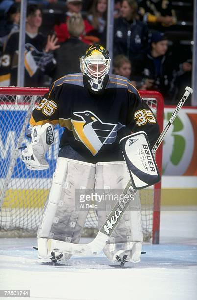Goaltender Tom Barrasso of the Pittsburgh Penguins in action during the game against the New Jersey Devils at the Continental Airlines Arena in East...