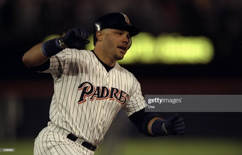 Jim Leyritz #13 of the San Diego Padres rounds the bases after hitting the game winning home run during game three of the National League Divisional Series against the Houston Astros at the Qualcomm Stadium in San Diego, California. The Padre