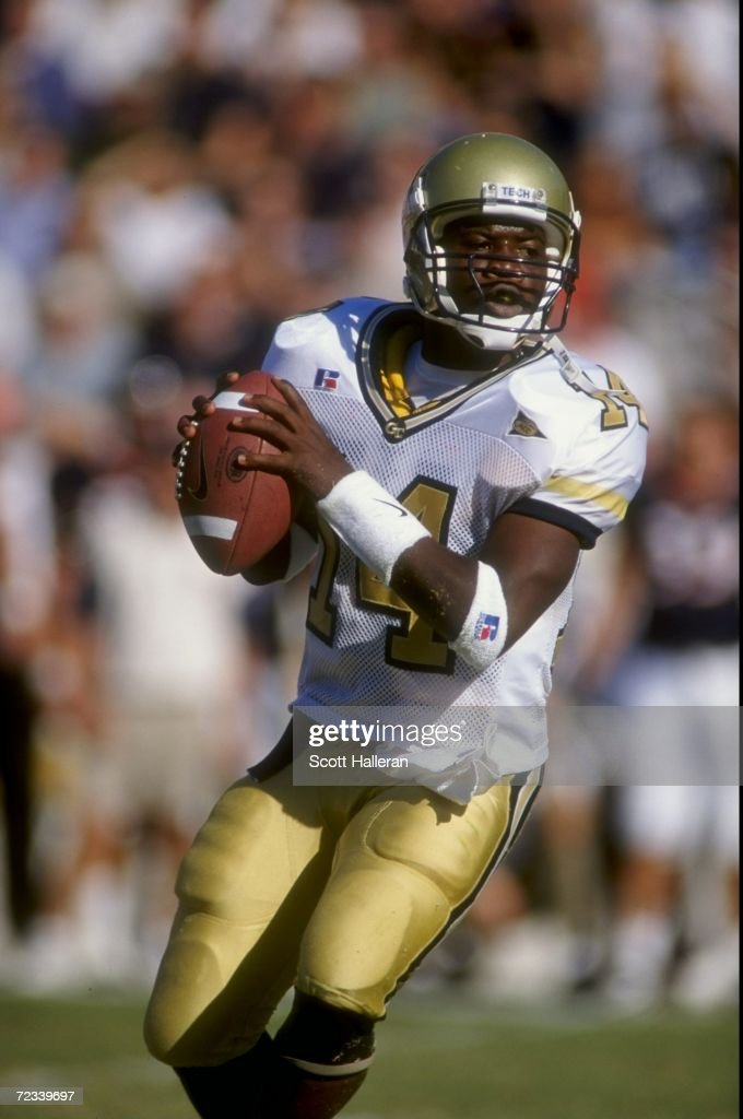 Quarterback Joe Hamilton of the Georgia Tech Yellow Jackets in action during the game against the Virginia Cavaliers at the Bobby Dodd Stadium in...