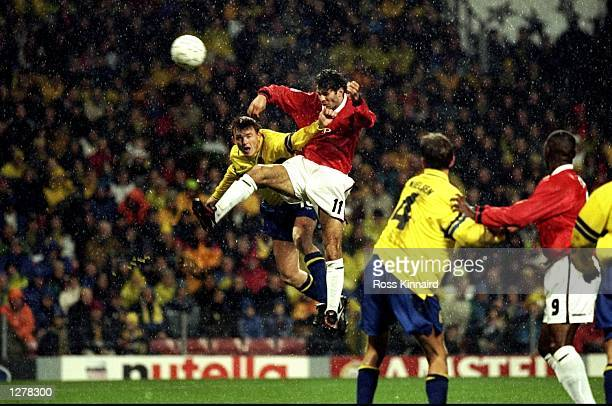 Ryan Giggs of Manchester United rises to head home against Brondby during the UEFA Champions League match at the Parken Stadium in Copenhagen Denmark...