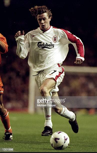 Steve McManaman of Liverpool in action during the UEFA Cup 2nd round 1st leg against Valencia played at Anfield in Liverpool England The match...