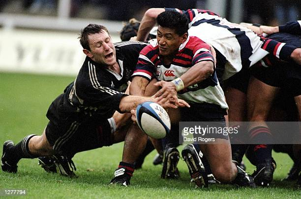 Tu Nu''auli''itia of West Hartlepool is put under pressure by Gary Armstrong of Newcastle during the Allied Dunbar Premiership match at Victoria Park...