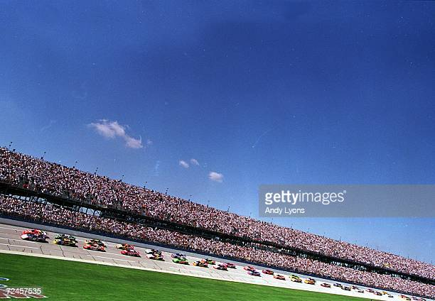 A view of the start of the race as they cars speed down the stretch during the Winston 500 part of the NASCAR Winston Cup Series at the Talladega...