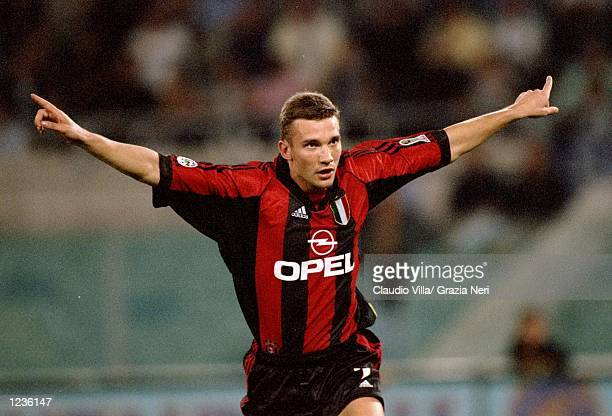 Andrei Shevchenko of AC Milan celebrates his goal against Lazio during the Serie A match at the Stadio Olimpico in Rome Italy Mandatory Credit...