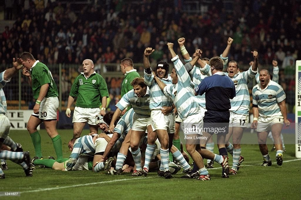 Argentinian players celebrate the final whistle of the Rugby World Cup Quarter Final PlayOff between Ireland and Argentina from the Stade Felix...