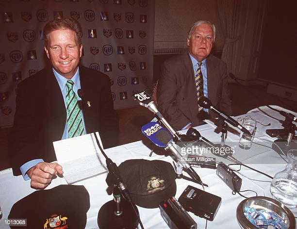 Australian wicketkeeper Ian Healy announces his retirement from Cricket as Denis Rogers Chairman of the ACB looks on in a Press Conference at the...