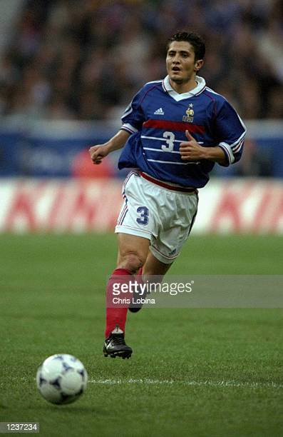 Bixente Lizarazu of France in action during the EURO 2000 Group 4 Qualifier between France and Iceland played at the Stade de France SaintDenis Paris...