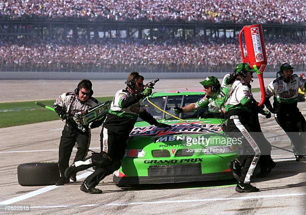 Bobby LaBonte makes a pit stop during the Winston 500 part of the NASCAR Winston Cup Series at the Talladega Super Speedway in Talladega Alabama...