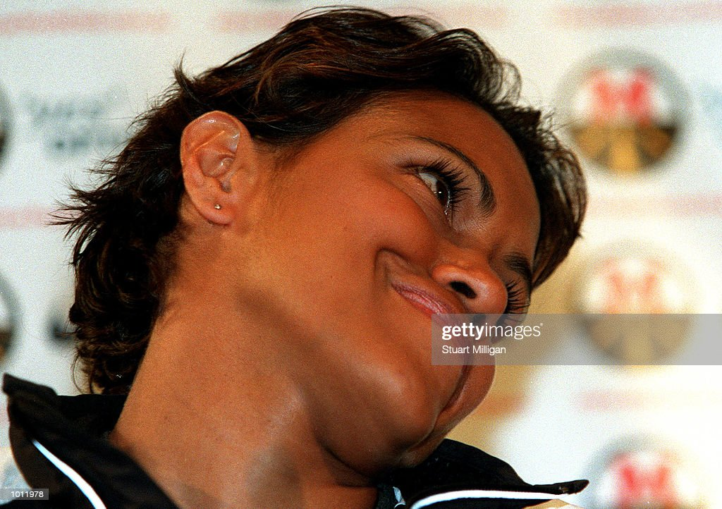 Cathy Freeman gives a grin during her press conference regarding her return to Australia after her World Championship victory in the womens 400m in Spain and her recent marriage. The press conference was held at the Hyatt Hotel, Melbourne,Australia. Mandatory Credit: Stuart Milligan/ALLSPORT
