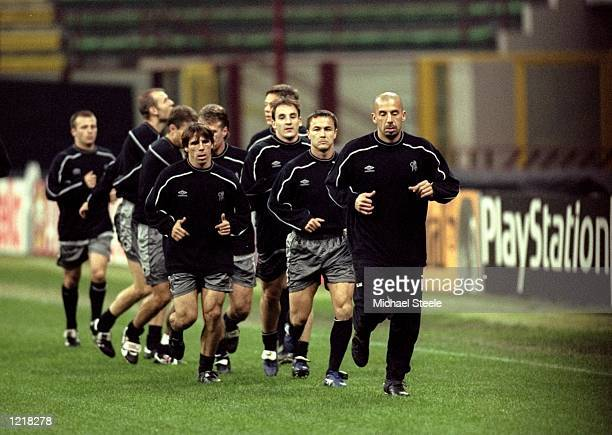 Chelsea manager Gianluca Vialli during training for the UEFA Champions League Group H match against AC Milan at the San Siro Stadium in Milan Italy...