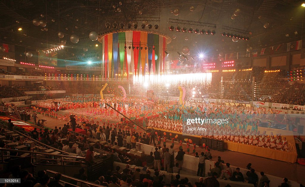 Chinese participants perform one of the routines in the Opening Ceremony for the 1999 Tianjin World Gymnastics Championships, Tianjin, China. Competition starts tommorrow. Mandatory Credit: Jack Atley/ALLSPORT