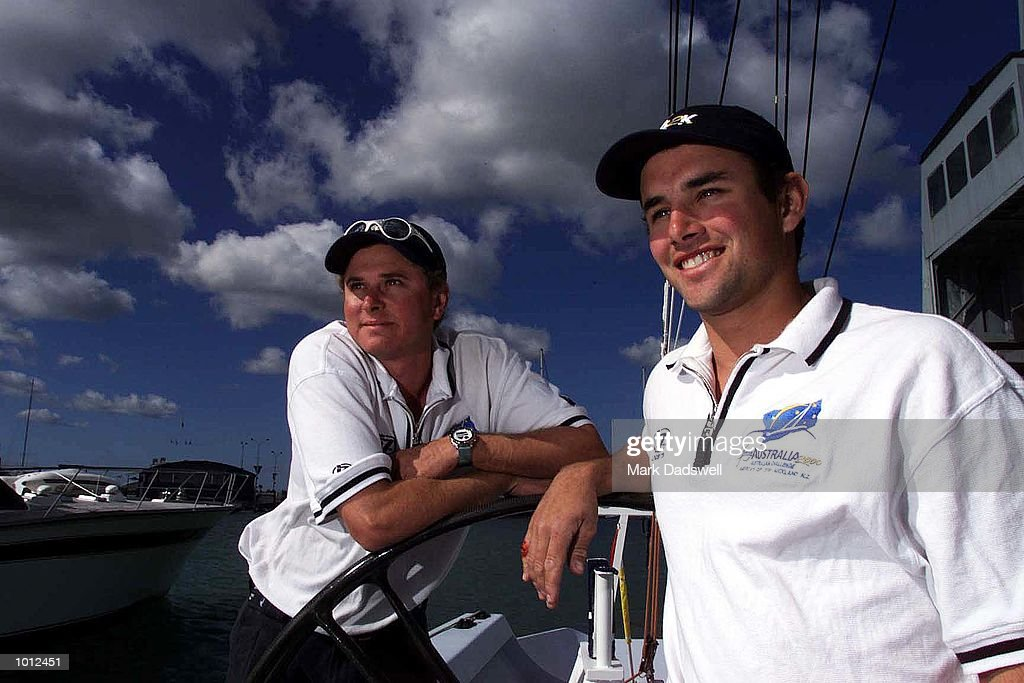 Crew members on the Louis Vuitton Cup challenge boat Young Australia 2000, 25 yo David Morris of Airlie Beach Qld and 21 yo Joe Newton of Manly, Brisbane, Qld, pictured with the syndicate berths in the background, at Waitemata Harbour, Auckland, New Zealand. Mandatory Credit: Mark Dadswell/ALLSPORT