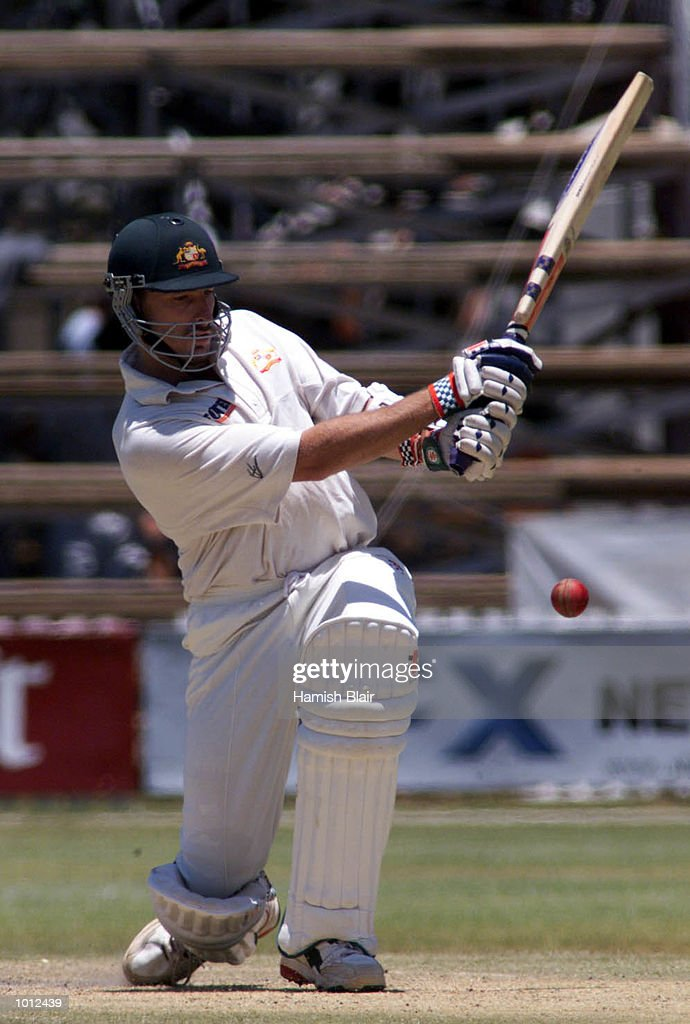 Damien Fleming of Australia hits out on his way to half century, during day three of the one off test match between Zimbabwe and Australia at Harare Sports Club, Harare, Zimbabwe.X Mandatory Credit: Hamish Blair/ALLSPORT