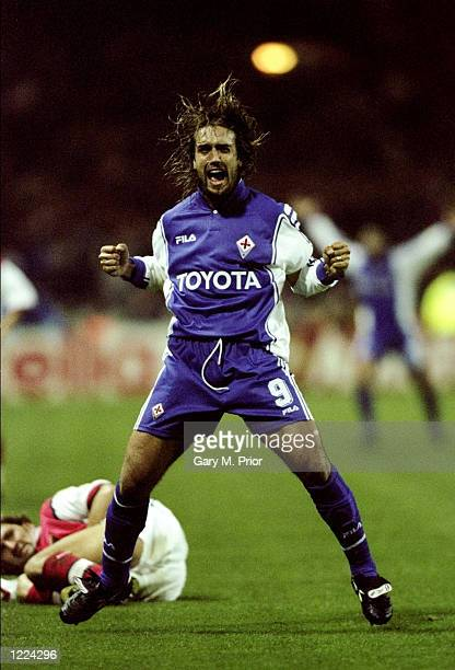 Gabriele Batistuta of Fiorentina celebrates his goal during the UEFA European Champions League Group B match against Arsenal played at Wembley...
