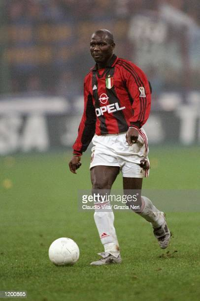 George Weah of AC Milan on the ball during the Serie A match against Inter Milan at the San Siro in Milan Italy Mandatory Credit Claudio Villa...