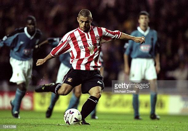 Kevin Phillips of Sunderland scores from the penalty spot against Aston Villa during the FA Carling Premiership match at the Stadium of Light in...