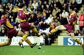 Kevin Phillips of Sunderland shoots past the Bradford during the FA Carling Premiership match played at Valley Parade in Bradford England Sunderland...
