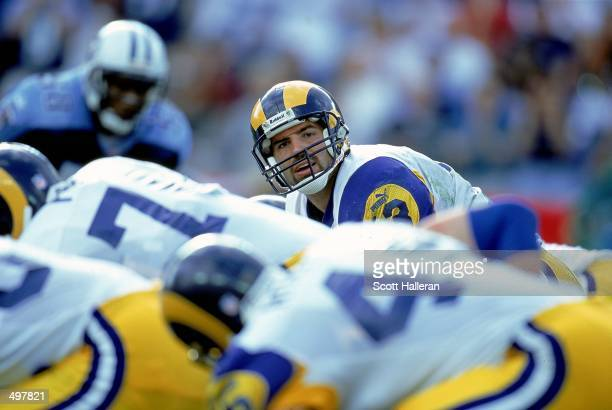Kurt Warner of the St Louis Rams looks down the line of scrimmage during the game against the Nasahville Titans at the Adelphia Coliseum in Nashville...