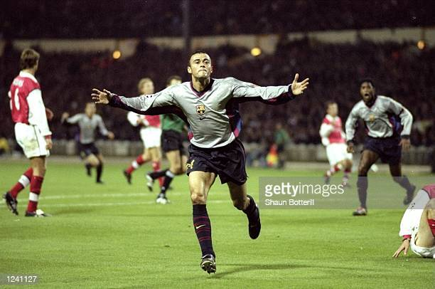 Luis Enrique of Barcelona celebrates his 15th minute goal during the Champions League Group B match against Arsenal played at Wembley Stadium London...
