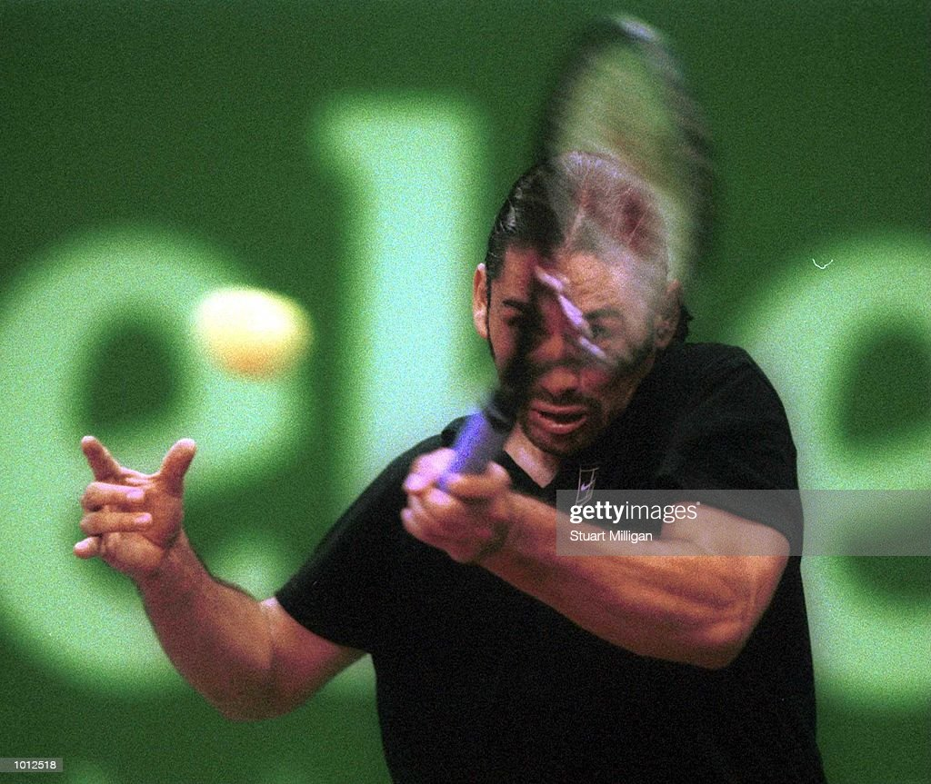 Marcelo Rios of Chile plays a forehand during his victory over Mikael Tillstrom, of Sweden in the final of the Heineken Singapore Tennis Open, played at the Singapore Indoor Stadium, Singapore. Rios won 6-2, 7-6. Allsport Credit: Stuart Milligan/Allsport