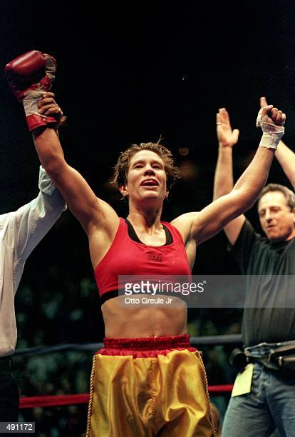 Margaret McGrego celebrates after winning the fight against Loi Chow at the Mercer Arena in Seattle Washington Mandatory Credit Otto Greule Jr...