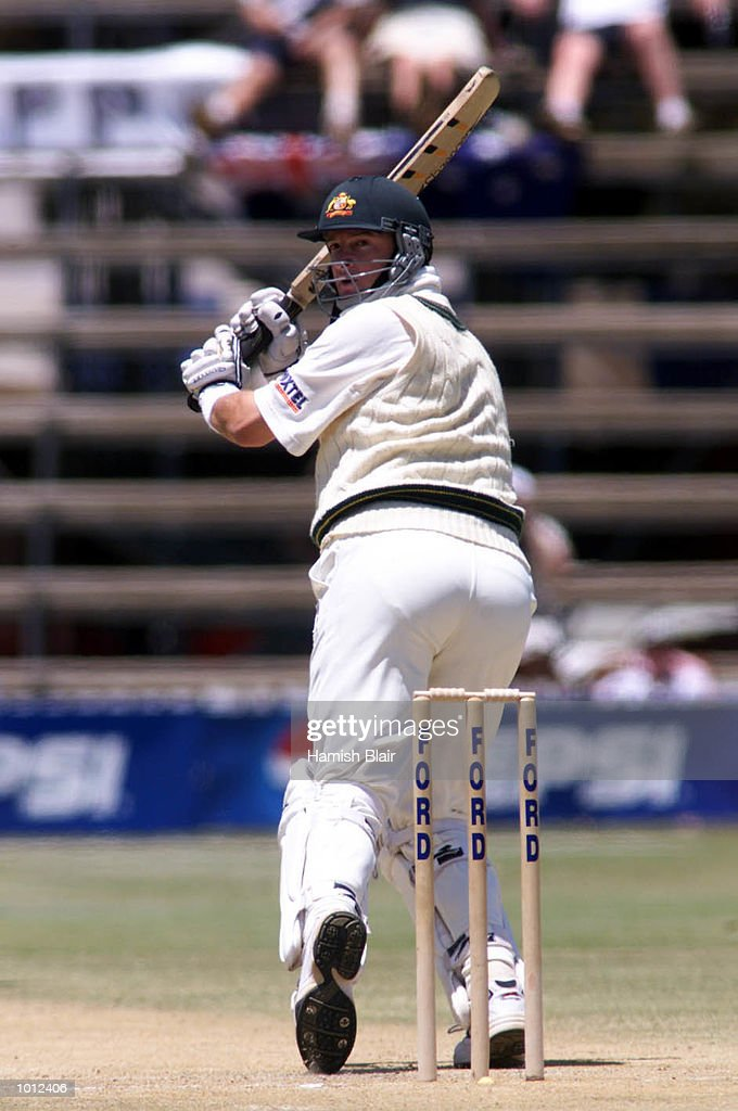 Mark Waugh of Australia flicks a ball to fine leg, during day two of the one off test match between Zimbabwe and Australia at Harare Sports Club, Harare, Zimbabwe.X Mandatory Credit: Hamish Blair/ALLSPORT