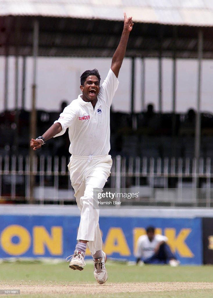 Nuwan Zoysa of Sri Lanka prematurely celebrates thinking he has Ricky Ponting of Australia out caught behind, he was given not out, on day two of the 3rd Test between Sri Lanka and Australia at Singhalese Sports Club, Colombo, Sri Lanka.X Mandatory Credit: Hamish Blair/ALLSPORT