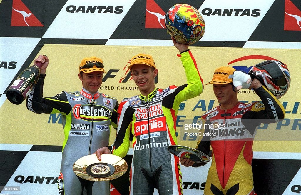 Olivier Jacque, #19 (second place) of France, Valentino Rossi #46 (winner) of Italy and Toru Ukawa #4 (third place) of Japan stand on the podium following the 250cc race at the 1999 Australian Motorbike Grand Prix at PhillipIsland, Victoria, Australia. Mandatory Credit: Robert Cianflone/ALLSPORT