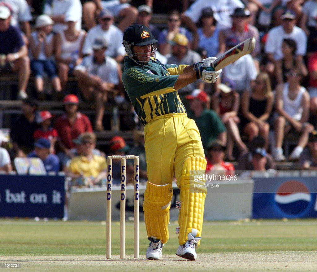 Ricky Ponting of Australia hits the winning runs, during the second one day international between Zimbabwe and Australia at Harare Sports Club, Harare, Zimbabwe. Australia won by 9 wicketsX Mandatory Credit: Hamish Blair/ALLSPORT
