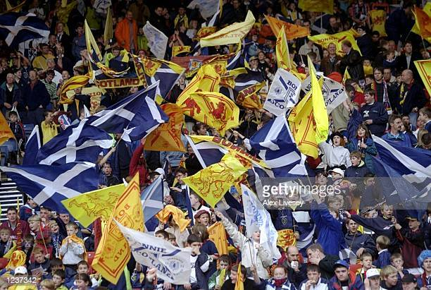 Scotland fans during the European Championships Group 9 qualifier against Lithuania at Hampden Park in Glasgow Scotland Scotland won 30 Mandatory...
